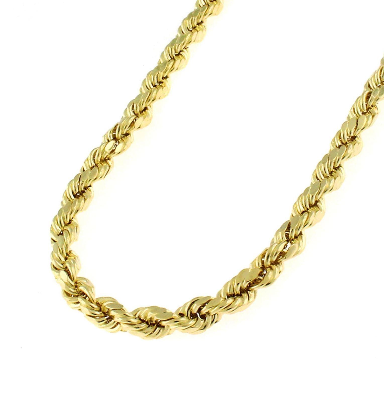 2mm 14K Solid Yellow Gold 1.5mm or 3.2mm Diamond Cut Rope Chain Necklace Unisex Sizes 16-30
