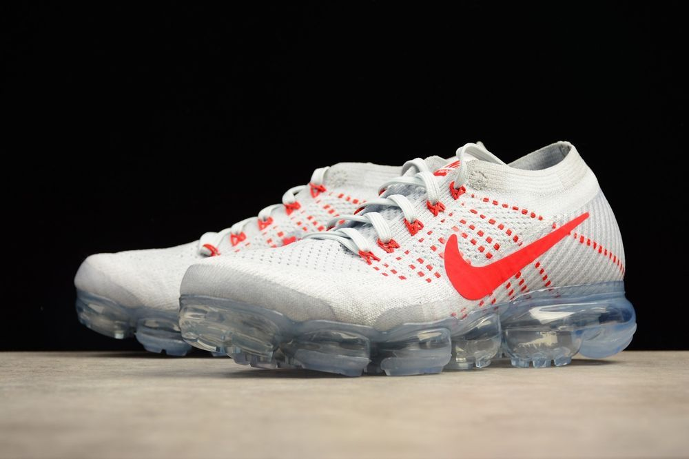 ef670759db Nike Air Vapormax Flyknit Pure Platinum OG 849558-006 Breathable White Red # Nike #AthleticSneakers