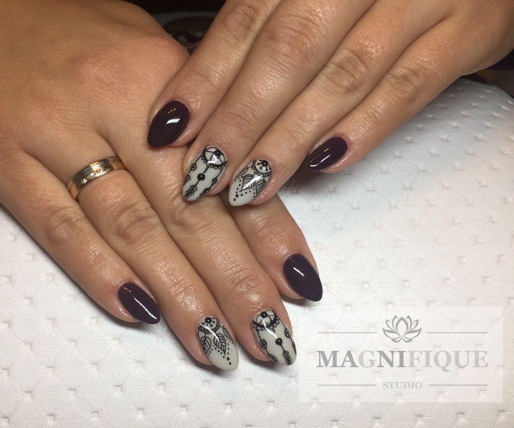 Nägel Traumfänger mit Rapidograph Design Mehndi nails | Nails ...