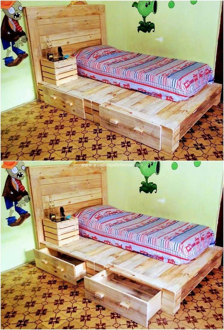 Creative Recycling Ideas With Old Wood Pallets Wood Pallets Bed Frame With Drawers Bed Frame Sets