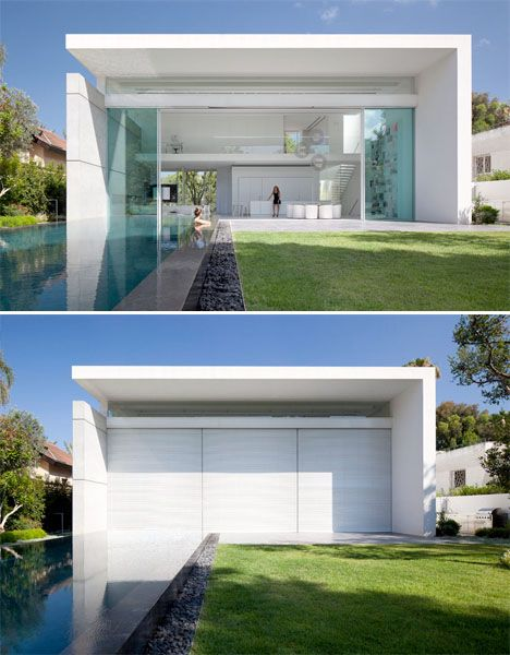 Love tinted glass Double Courtyards Flood Modern Cube House With Light  double courtyard cube house interior