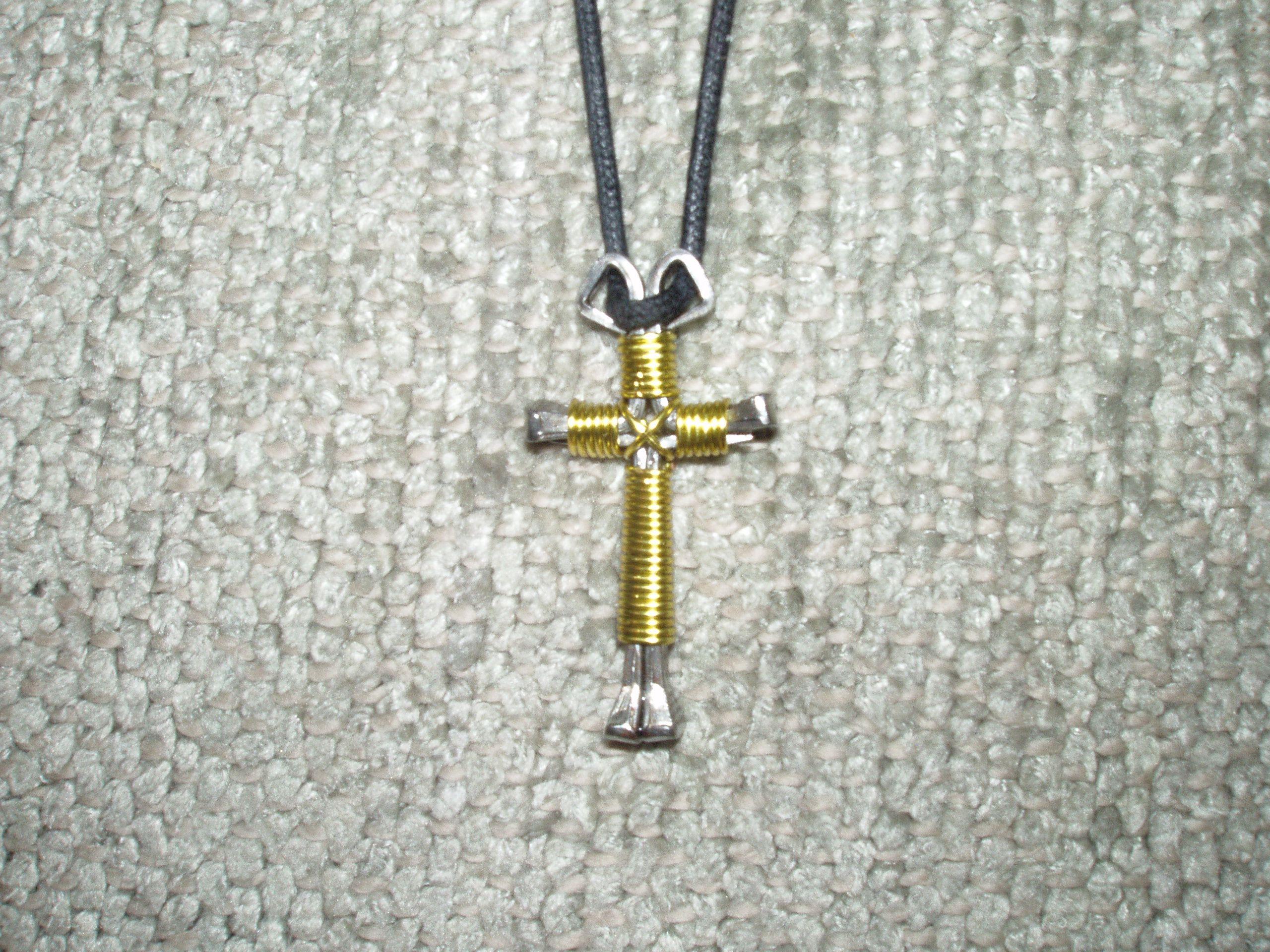 Peridot Nail Cross Necklace ($8) handmade with horseshoe nails ...