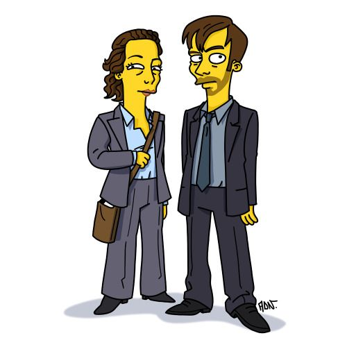 "Ellie Miller (Olivia Colman) and Alec Hardy (David Tennant) in ""Broadchurch"" / Simpsonized by ADN"