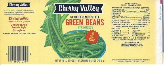 Cherry Valley Green Beans Vintage Can Label, 1950s