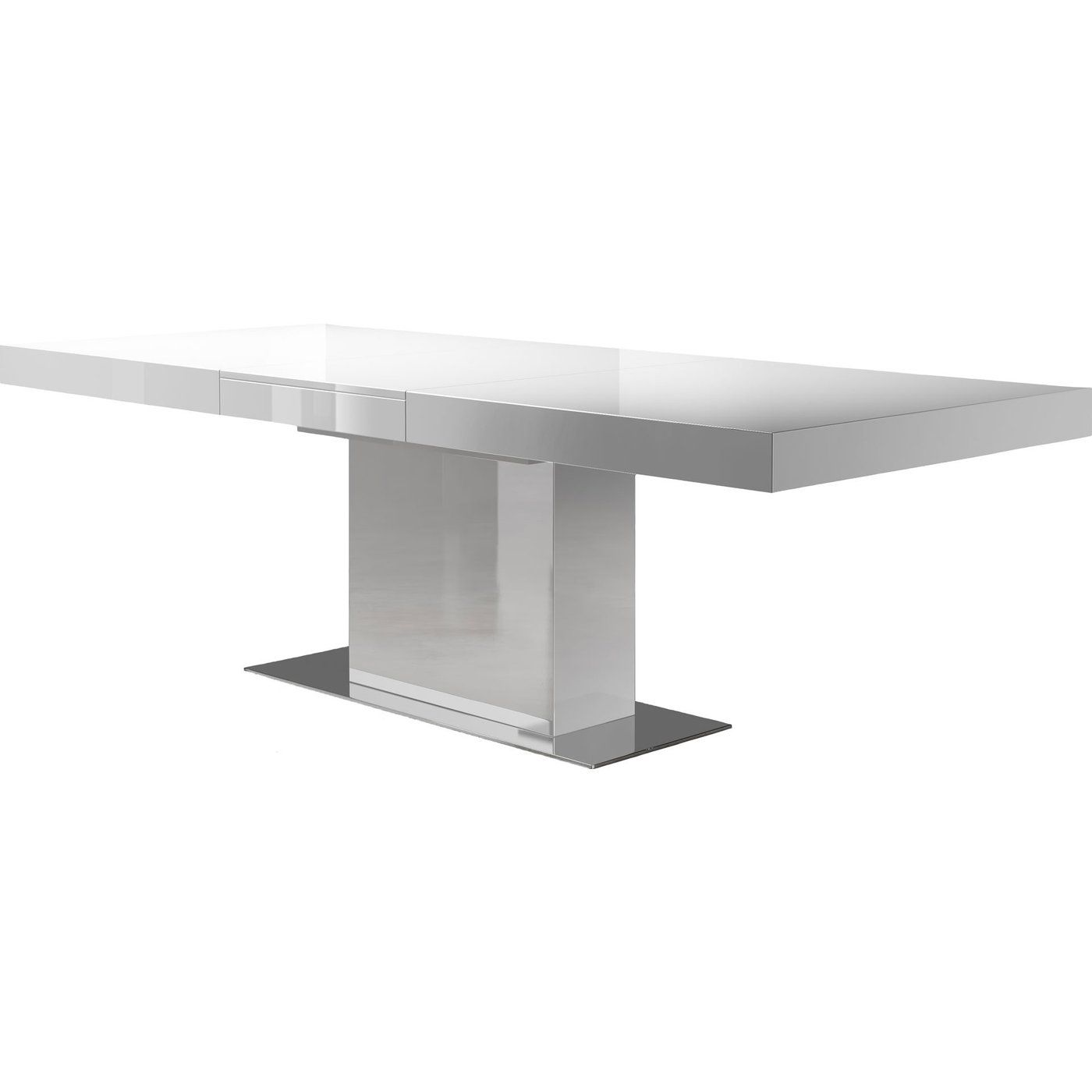 Astor Dining Table In White Lacquer Extendable Dining Table
