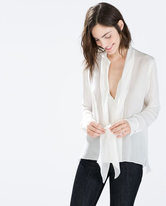 8bf8a47401 PUSSYBOW BLOUSE by Zara | Looks | Shirt blouses, Blouses for women ...
