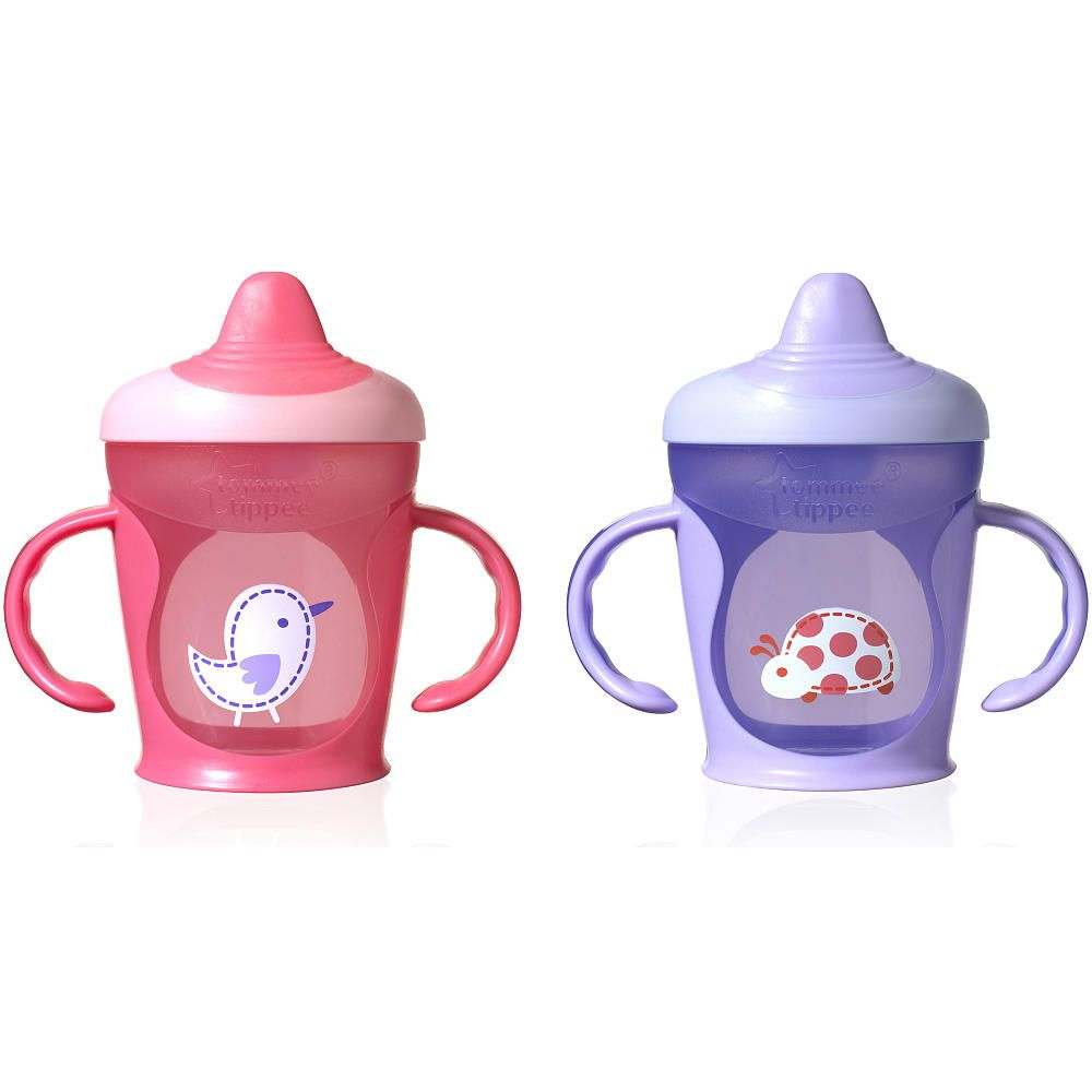 Tommee Tippee Explora Truly Spill Proof 9 Ounce Trainer Cup 2 Pack Rose Purple Tommee Tippee Babies R Us Toddler Sippy Cups Baby Cups Baby Sippy Cup