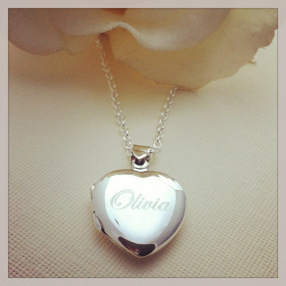 a8e7226823b1 Little Girls Personalized Name Engraved Keepsake Sterling Silver Heart  Locket Necklace New Baby Baptism Gift
