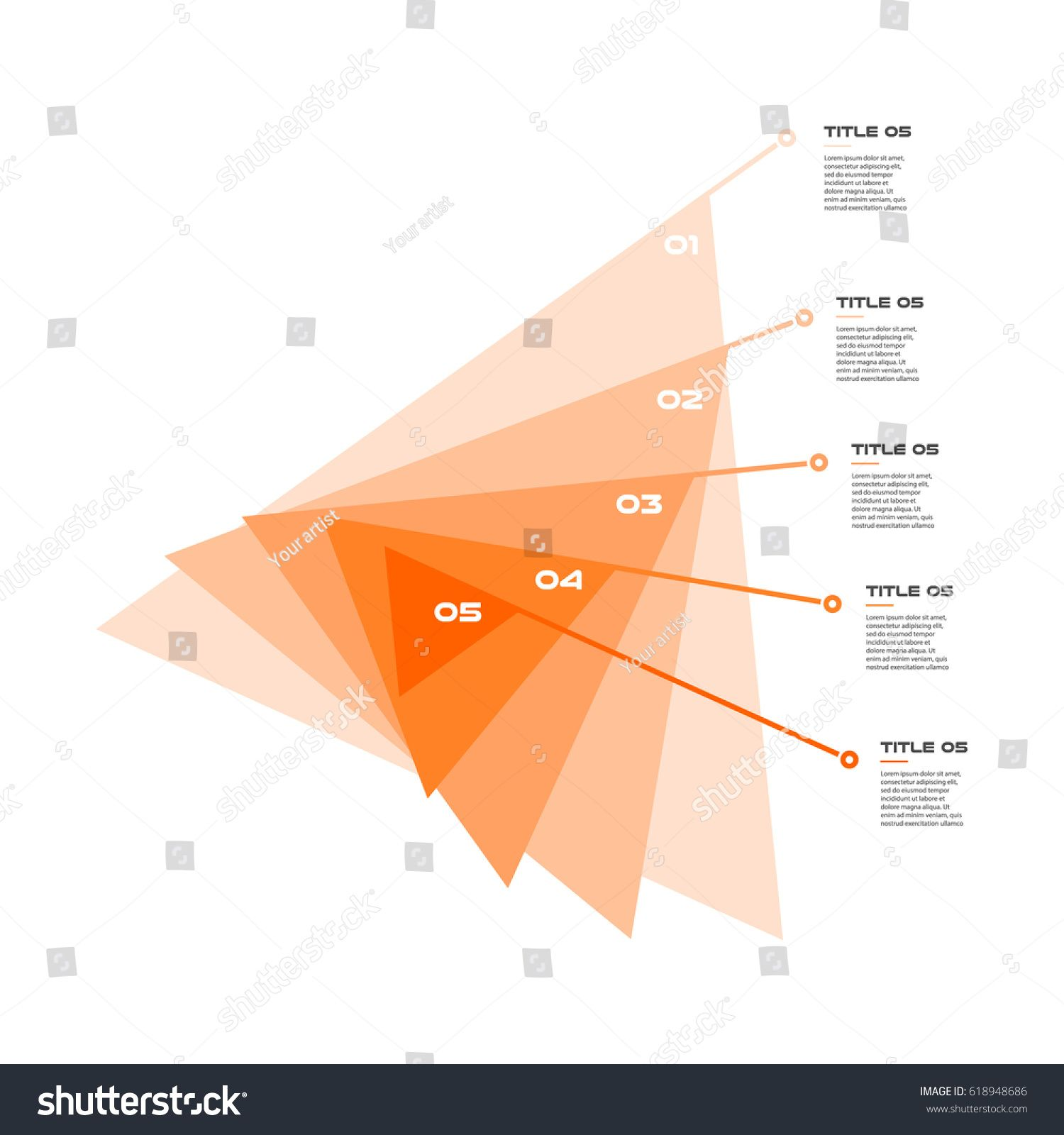 Concentric Infographics Step By Step In A Series Of Triangle