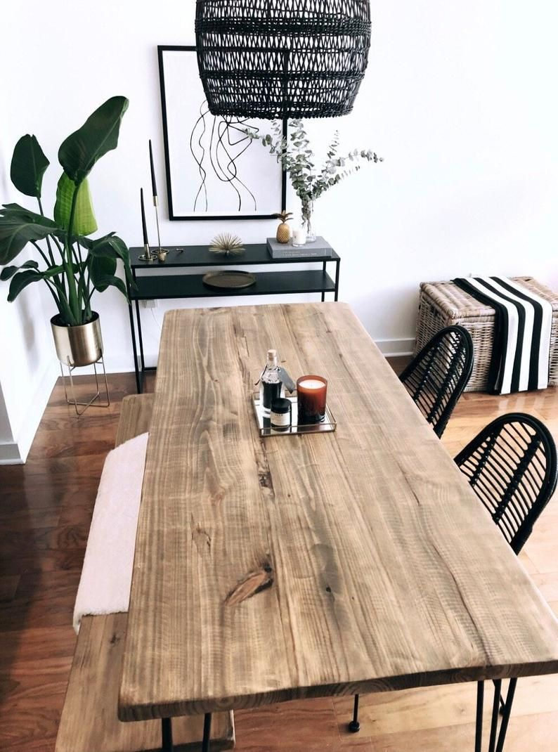 Reclaimed Wood Metal Dining Table Etsy Dining Table With Bench Metal Dining Table Wood Dining Table [ 1070 x 794 Pixel ]