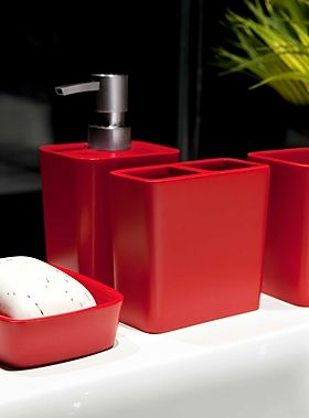Sleek Red Resin Accessories Bathroom Simons