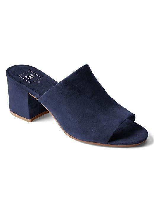99fd91bf2d1 Gap Womens Open-Toe Suede Mules Navy Size 9