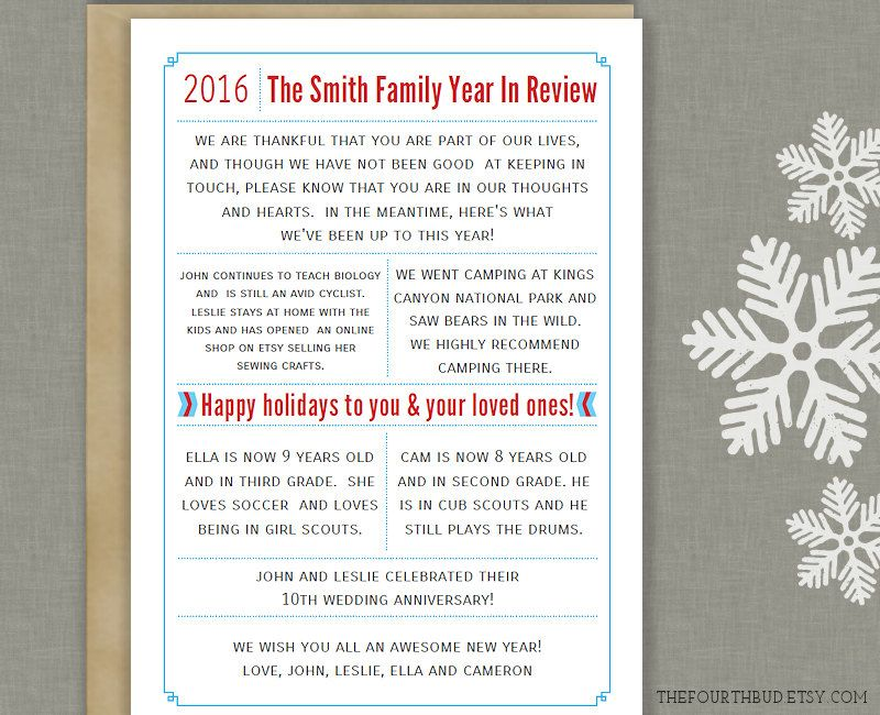 X Year In Review  Christmas Letter Template In Pdf For Adobe