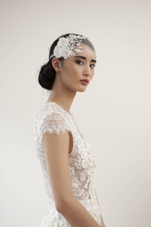 Boho bridal veil headband of silk tulle and french net