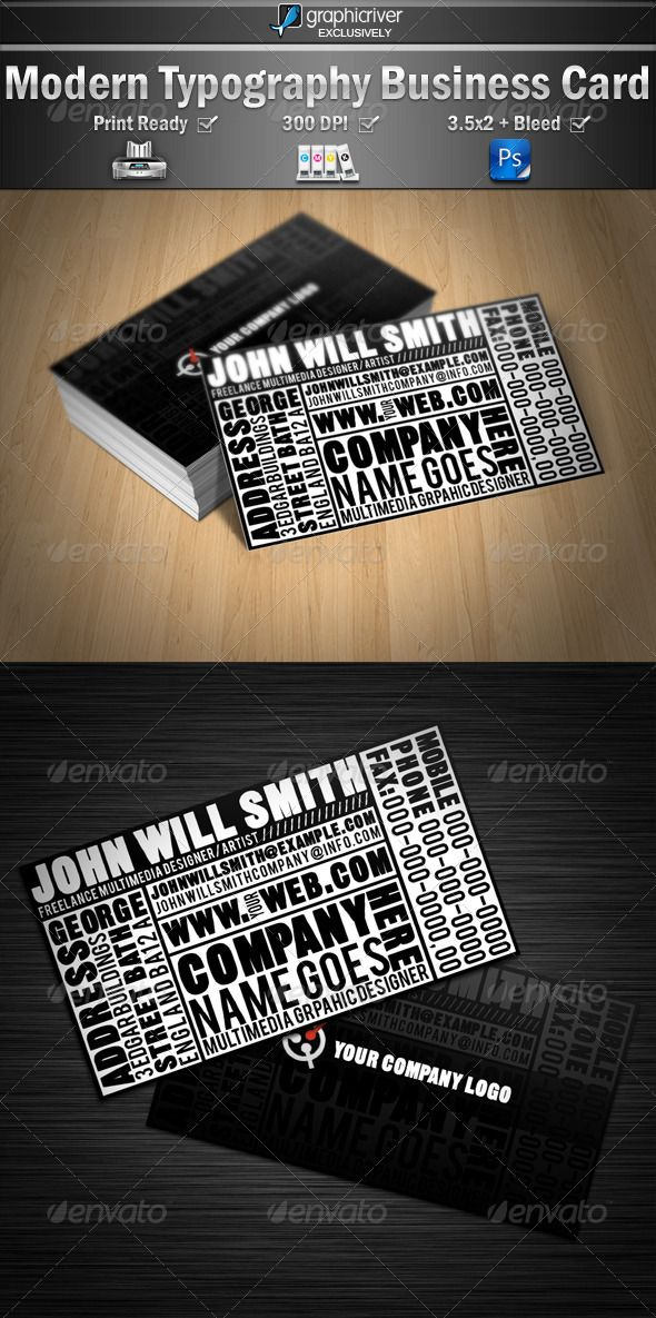 Modern Typography Business Cards | Business cards, Stylish text and ...