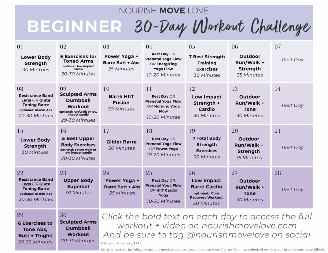 Beginner Workout Plan 30 Day Workout Calendar