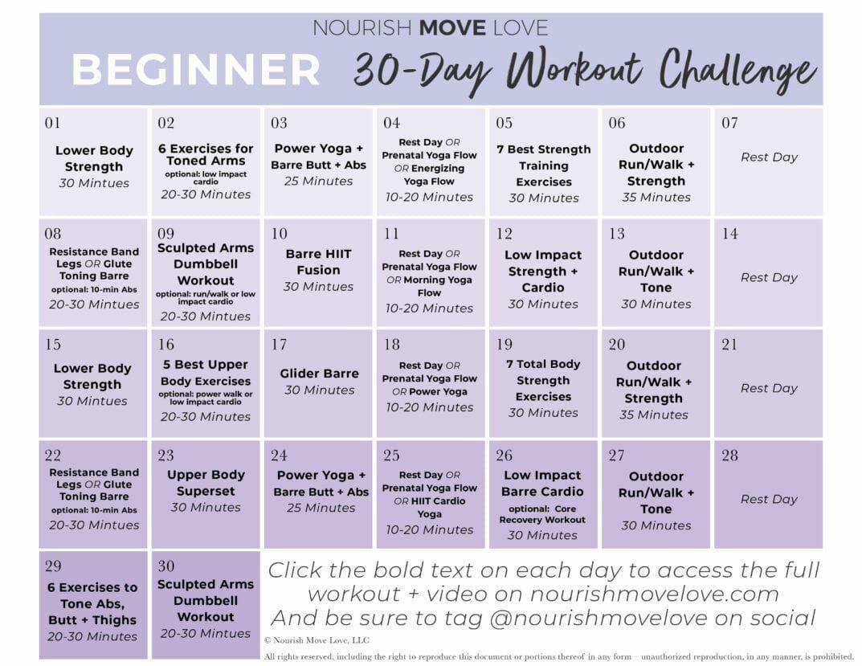 Beginner Workout Plan 30 Day Workout Calendar Workout Plan For