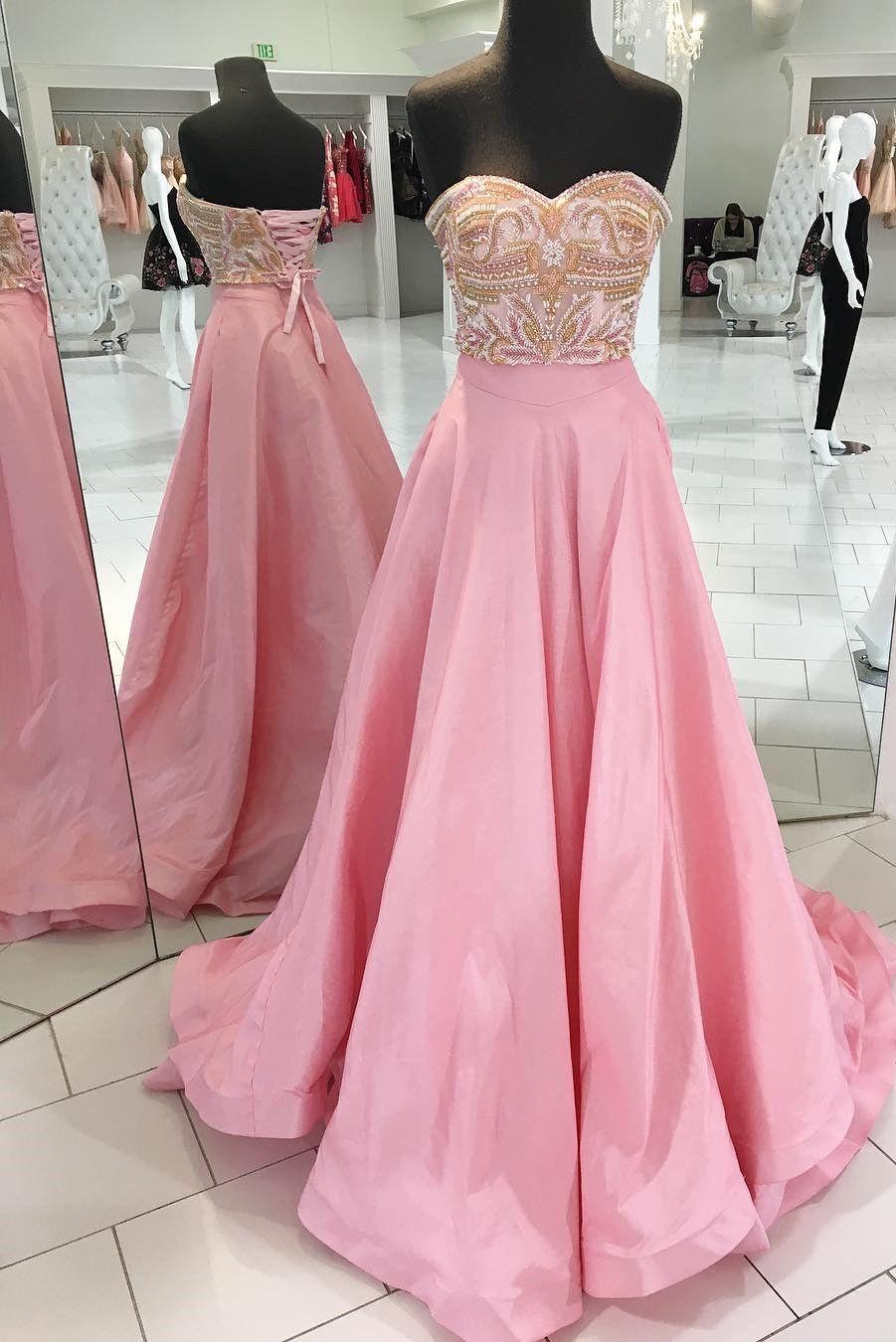 Gorgeous sweetheart beaded pink long prom dress prom dresses k
