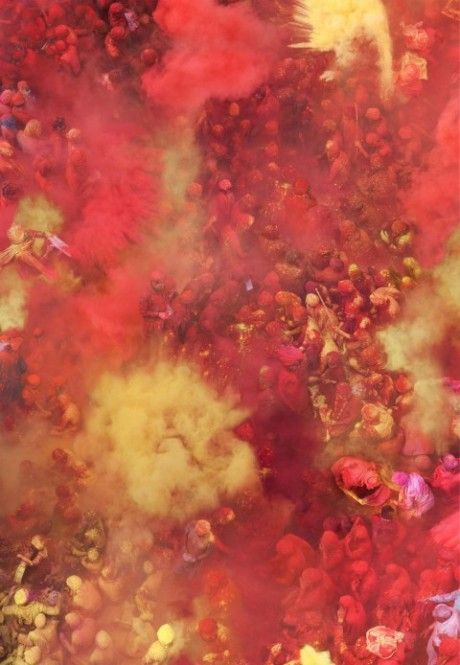 German artistKatrin Korfmann flew high above the Hindu ritual known as Holi to capture the famous event that sees thousands of people throw coloured powder and perfumes at each other.