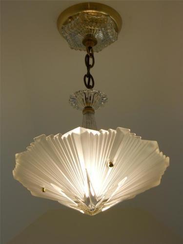 C 30s Vintage Art Deco Ceiling Light Fixture Chandelier American