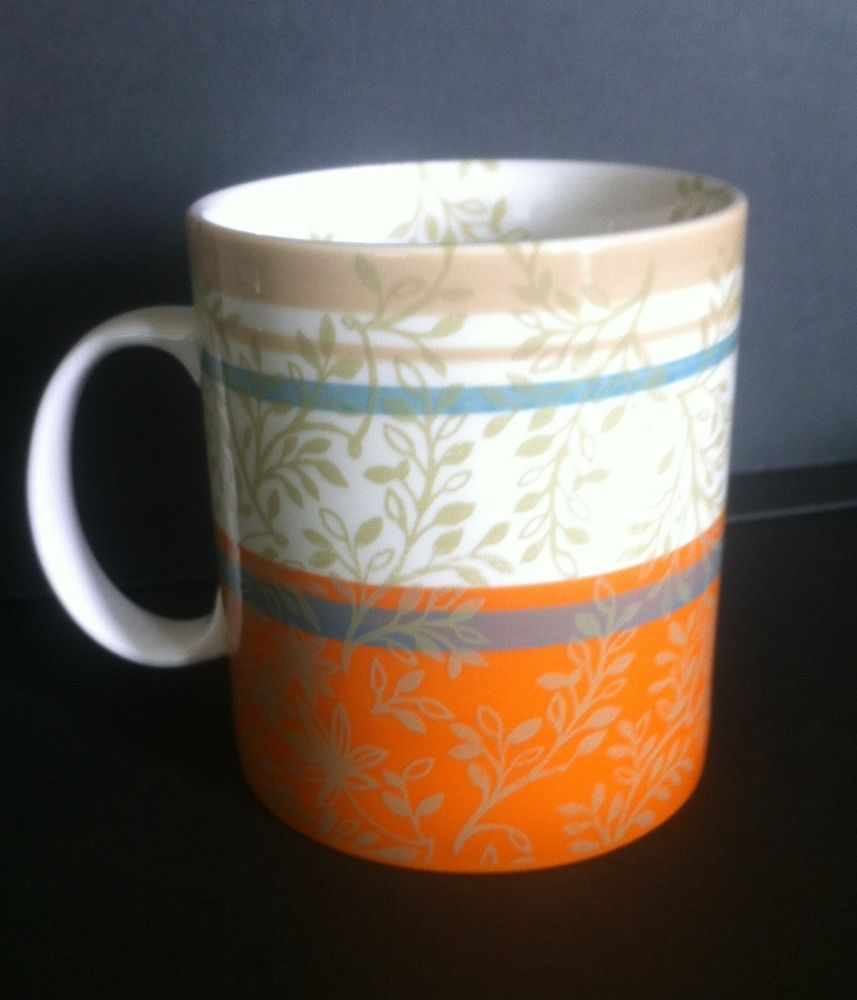 Leaf Stripe W Mug 2008 Starbucks Taupe Orange Aqua Zen Vine 14oz thQxsBdCro