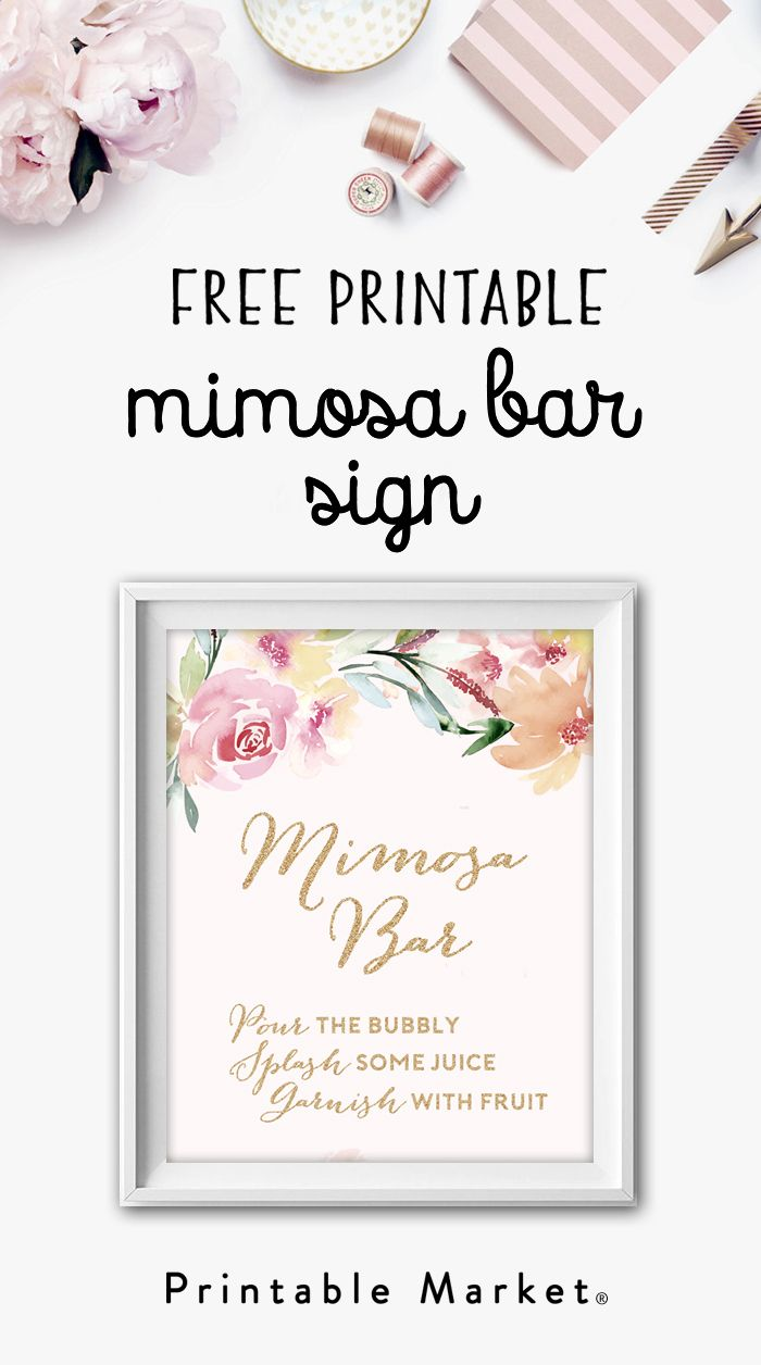 Free Mimosa Bar Watercolor Flowers Gold Glitter Printable Instant Download Mimosa Bar Bridal Shower Bridal Shower Brunch Bridal Shower Printables