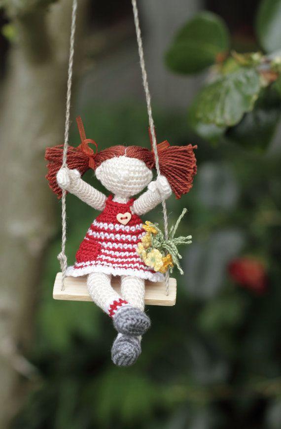 Crochet doll Miniature doll on wooden swing Doll by FancyKnittles,