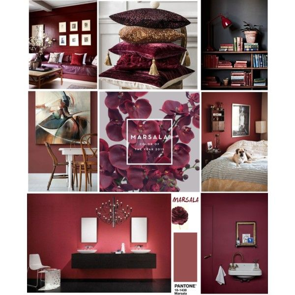 Marsala by shalinimehta on Polyvore featuring interior, interiors, interior design, home, home decor and interior decorating