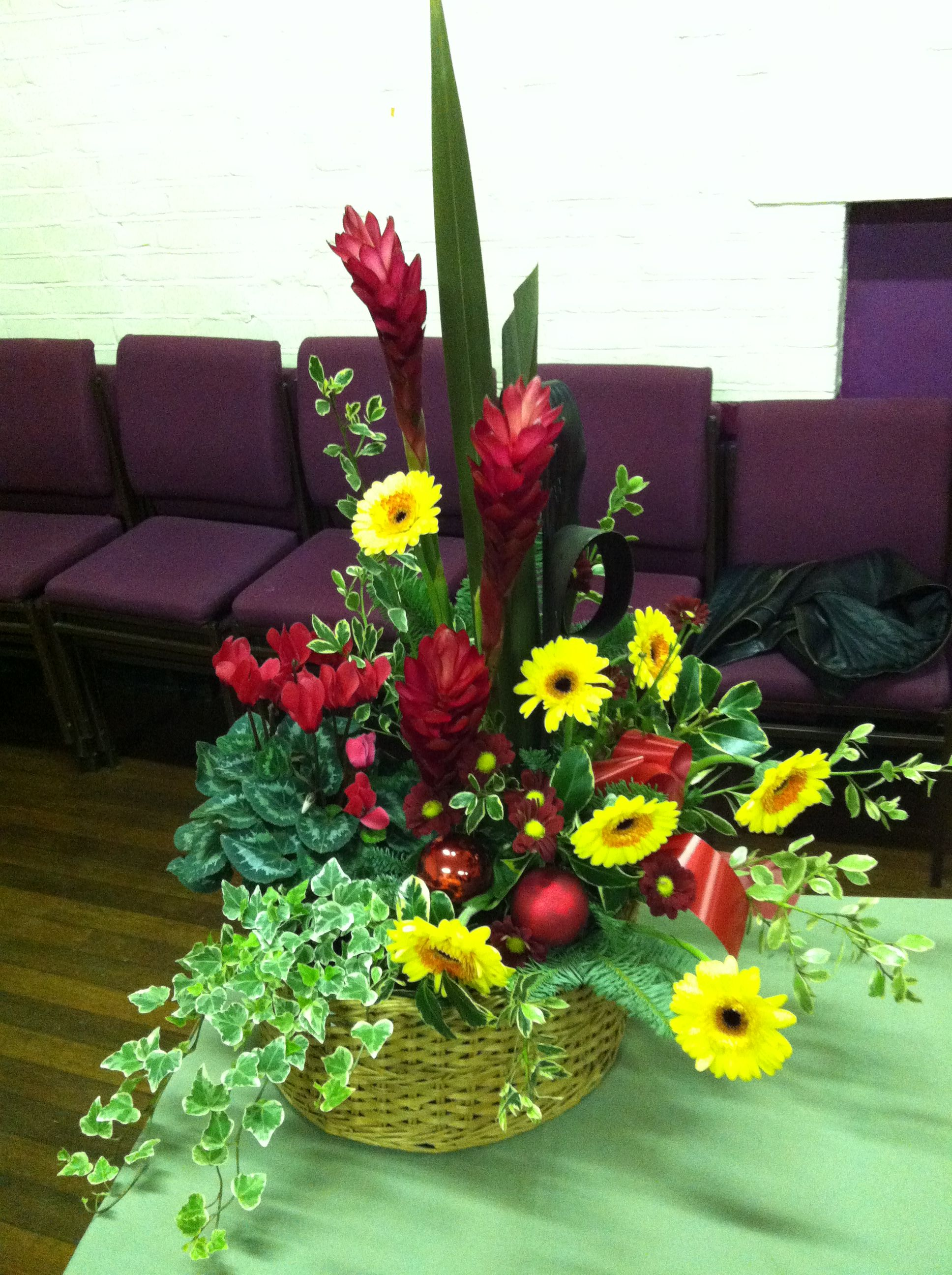 Flower arrangement red cyclamen and chrysanthemum ginger