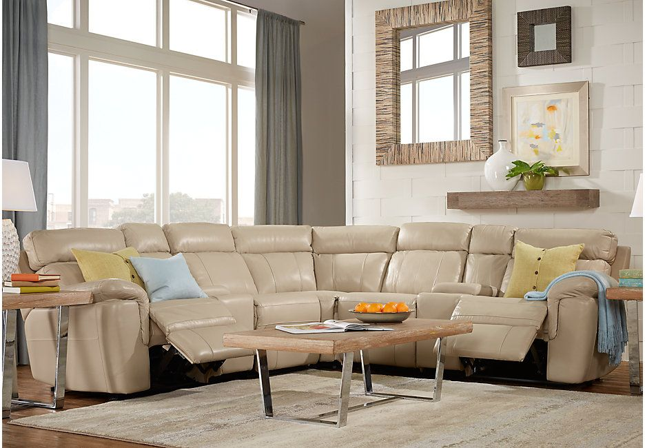 Beautiful Picture Of Hudson Square Sand Leather 10 Pc Power Reclining Sectional  Living Room From Furniture
