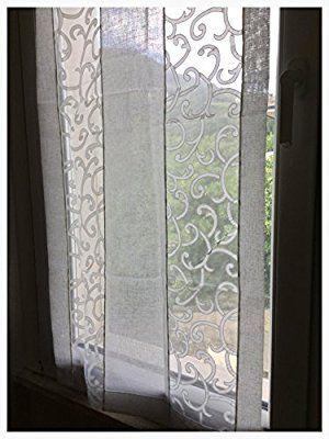 Coppia di tende a vetro finestre pannelli misto lino 60x240 bianco e ...