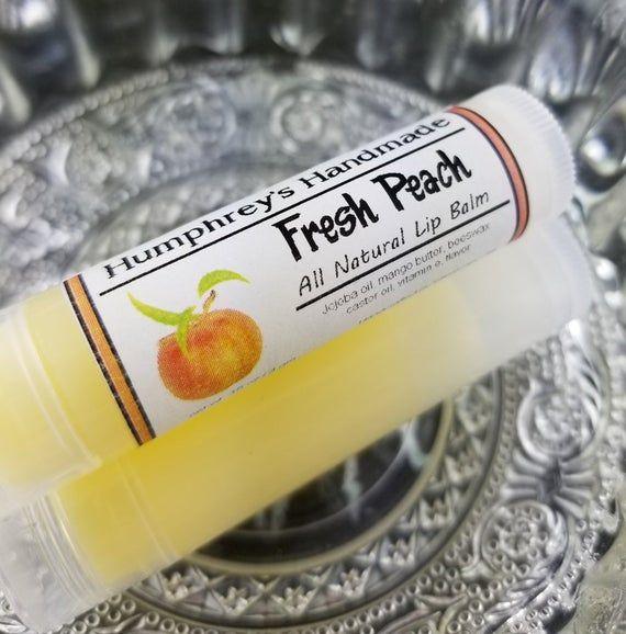 FRESH PEACH Lip Balm, Peaches Flavor, Tropical Jojoba Oil Lip Balm, Natural Bee Balm, Juicy Fruity S #jojobaoil