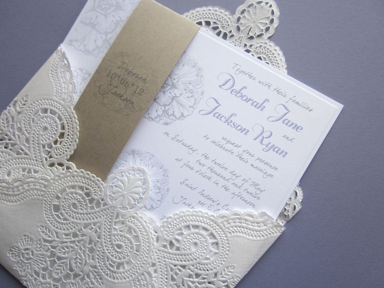 Vintage wedding invitationrsvp lace doily and by anistadesigns