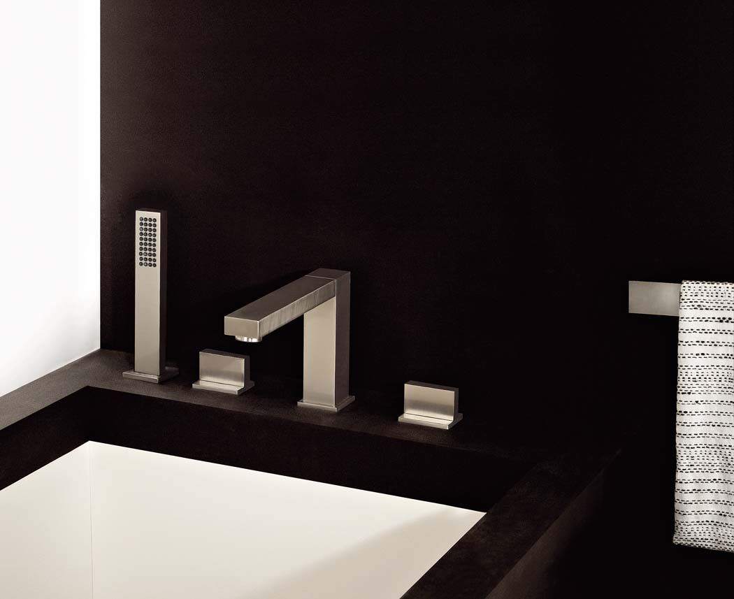 Gessi Rettangolo Roman Tub Faucet W Handshower - Contemporary waterfall faucets riflessi from gessi