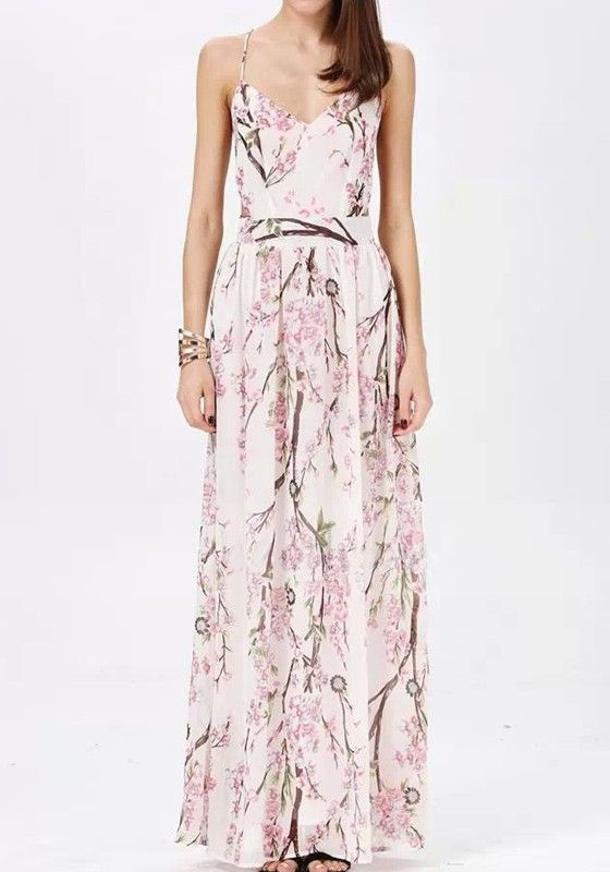 White Floral Sleeveless Chiffon Maxi Dress - Maxi Dresses - Dresses
