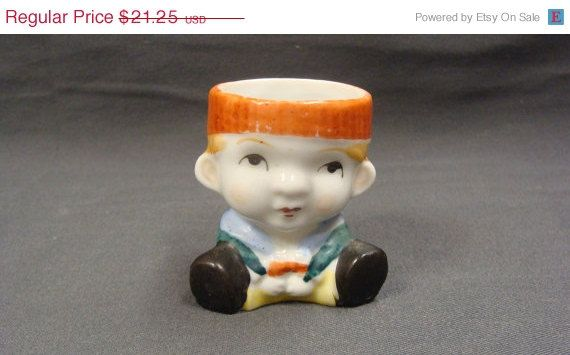 15 Off Little Boy Egg Cup Made in Occupied Japan by EtagereLLC, $18.06