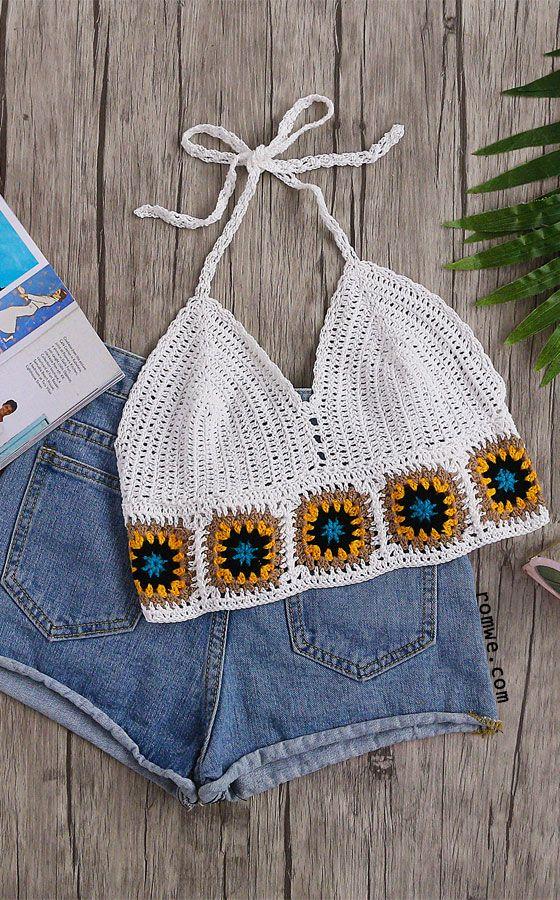 White Geo Pattern Trim Crochet Halter Neck Top Romwe Hot Buy