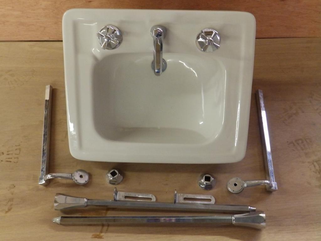 Vintage White Porcelain Bathroom Sink Chrome Brass Legs