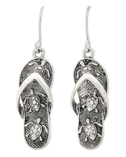 c7e625f45721 Silver tone flip flop earrings with Turtle design. 1 1 2