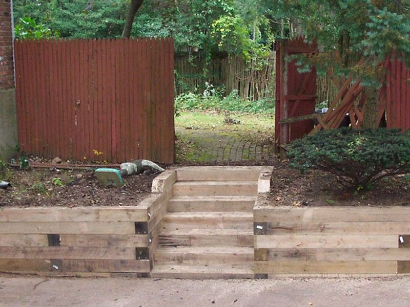 Landscape Timber Retaining Wall Steps | Exterior: Driveway/Front