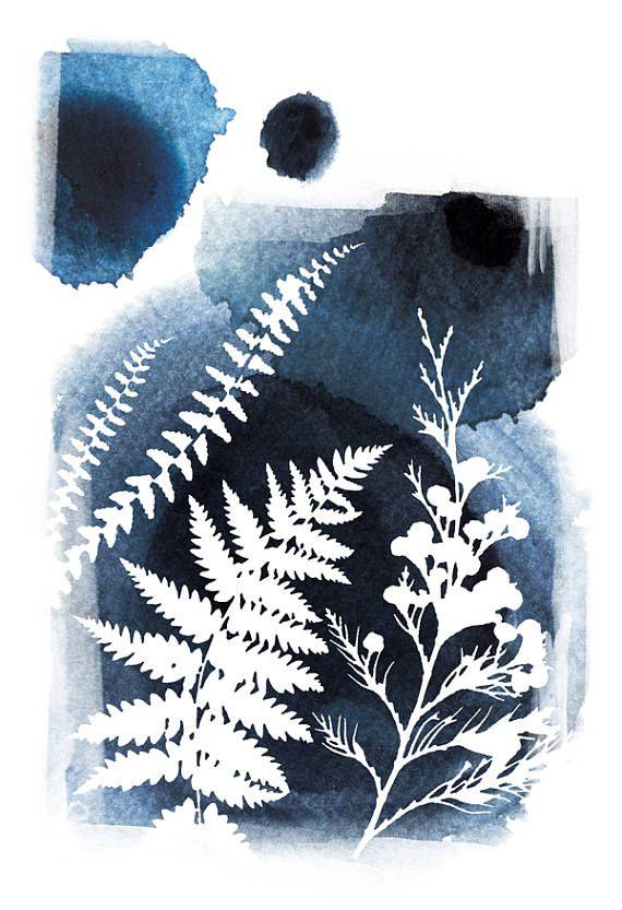 Feuille De Botaniques Art Mural Art Bleu Peinture A L Aquarelle
