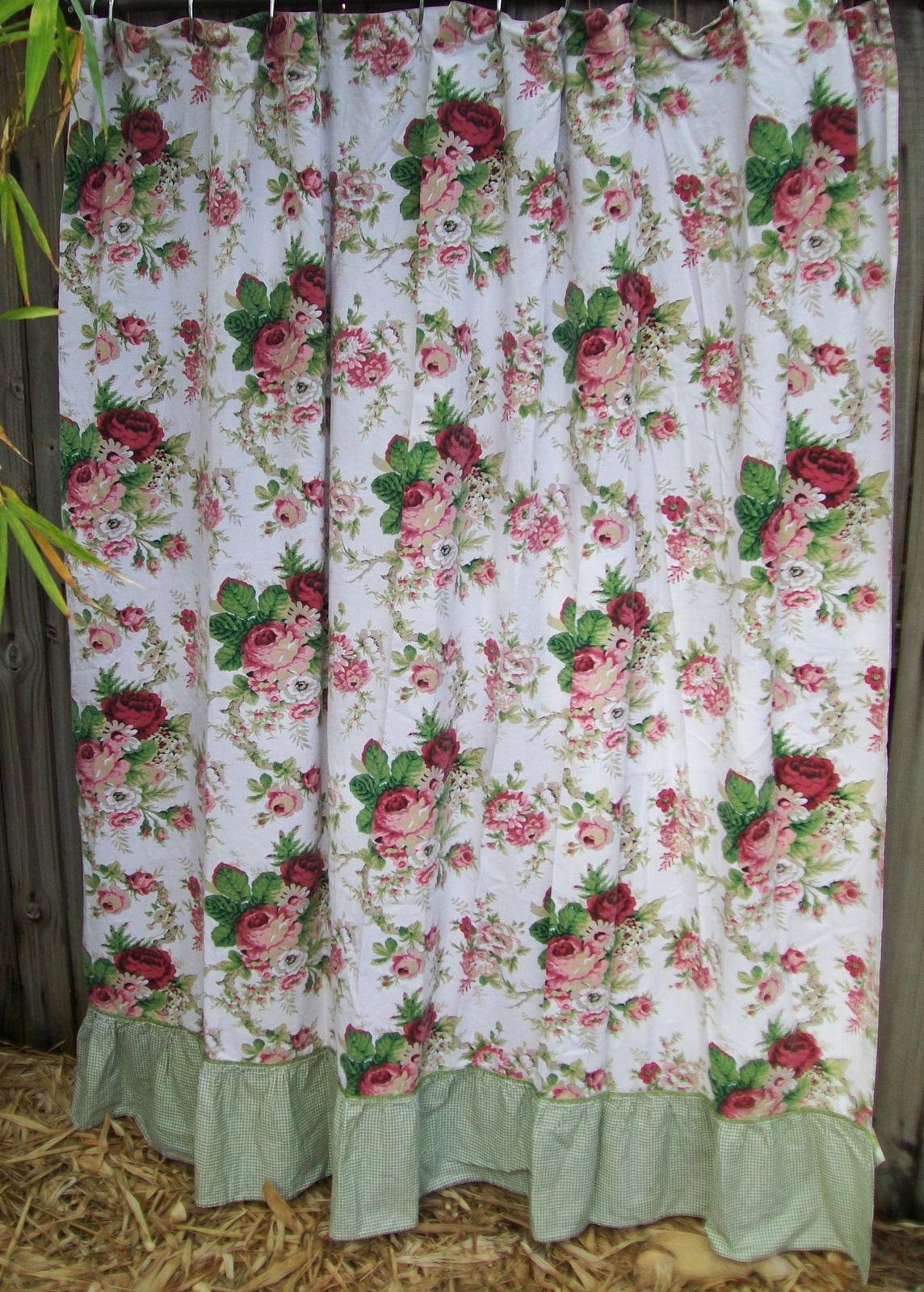 Waverly Spring Romance Floral Fabric Shower Curtain White Pink