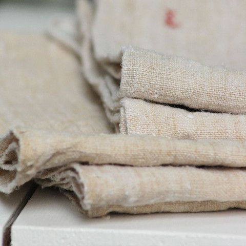 Wonderful Buff Antique French Linen Tea Towels   Pale And Interesting