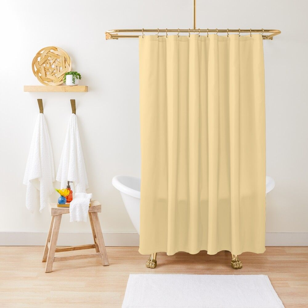 Buttercream Yellow Solid Shower Curtain By Kierkegaard Redbubble Green Shower Curtains Solid Color Shower Curtain Orange Shower Curtain