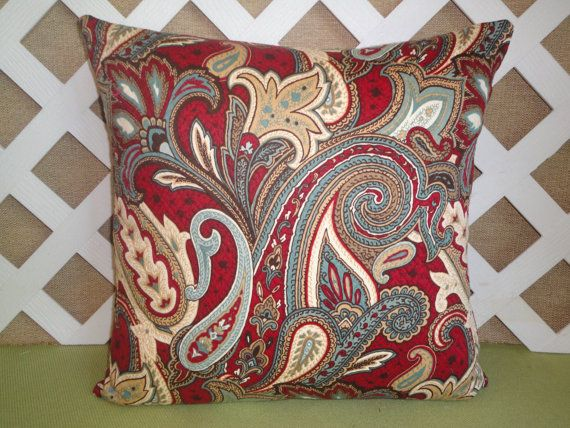 Burgundy Paisley Pattern Pillow