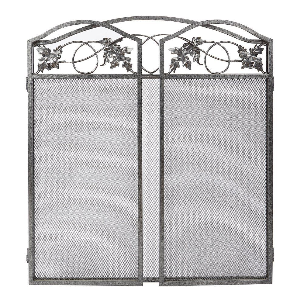 Amagabeli 3 Panel Pewter Wrought Iron Fireplace Screen Outdoor Metal Decorative Mesh Cover Soli Fireplace Screen Wrought Iron Fireplace Screen Indoor Fireplace