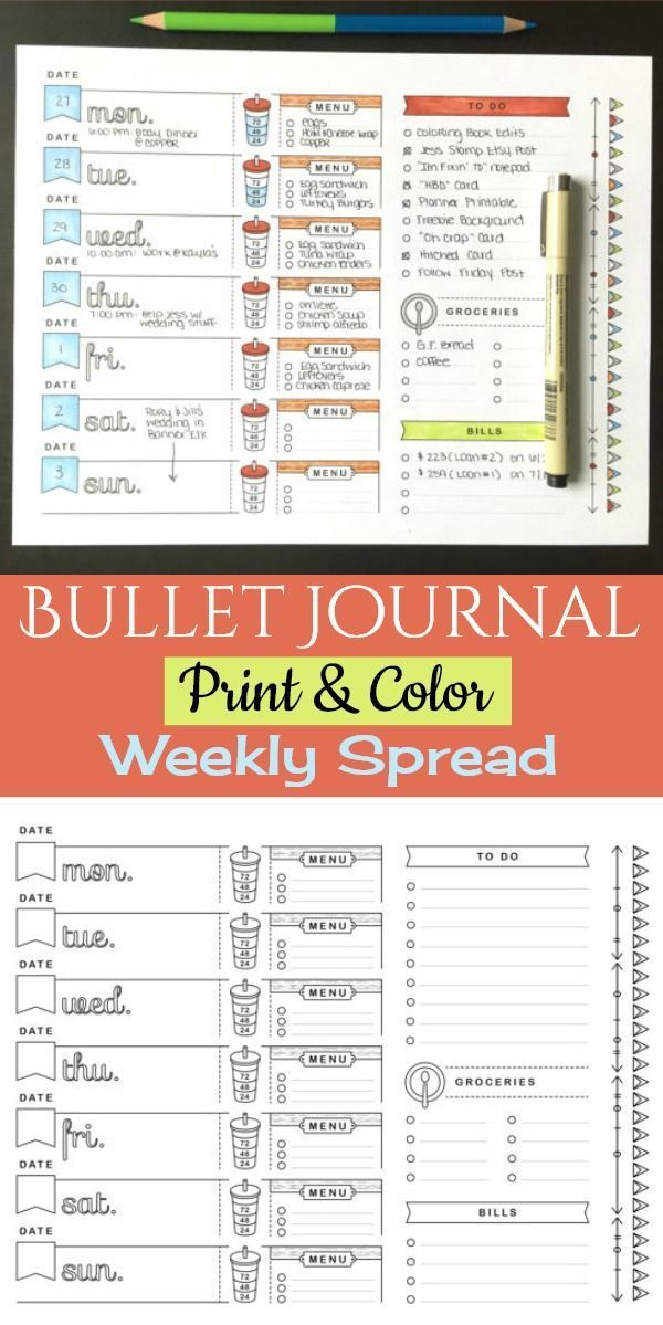 Love the water tracker on this! The cups are so cute. 8.5x11, Printable Planner Page, Weekly Calendar Template, Bullet Journal Printable, Adult Coloring, To Do List, Grocery List, Meal Planning, Bujo weekly log, Bullet journal weekly spread, Instant downl #watertrackerbulletjournal