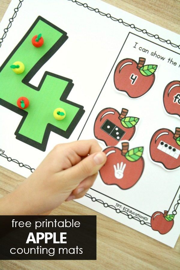 Counting Numbers Apple Math Mats Creative activities for