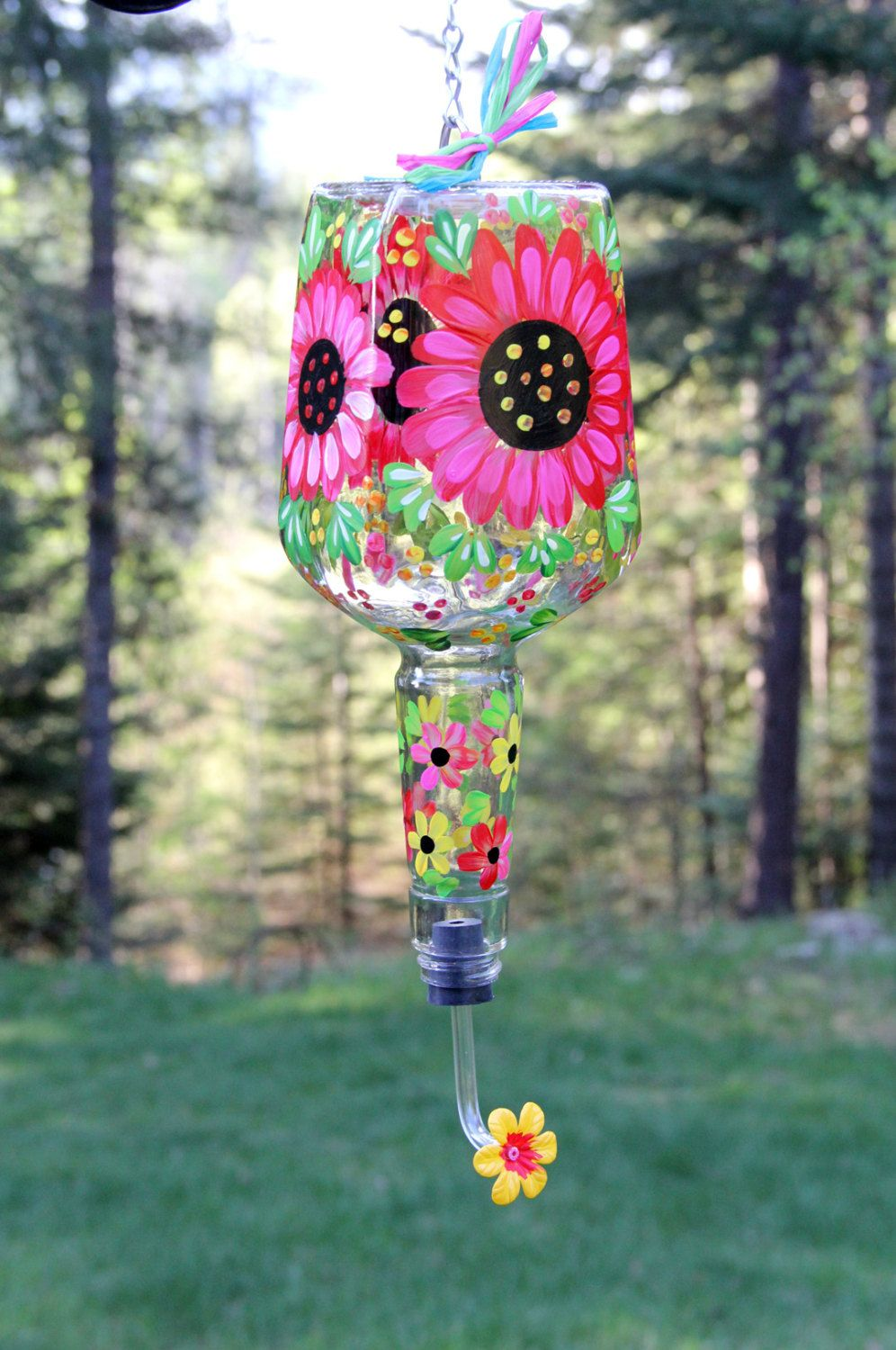 Hand Painted Bold Pink Flower Hummingbird Feeder with ...