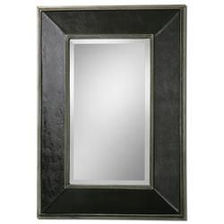 "Frame features stretched, faux black leather with silver champagne metal rope trim. Mirror features a generous 1 1/4"" bevel. May be hung horizontal or vertical."